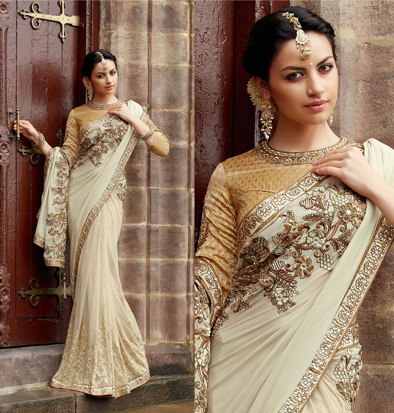 Wedding White Sarees Online: Off White Net Floral Patch Work Wedding Saree 40313
