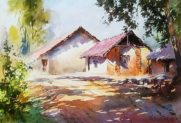 Vilas Kulkarni Watercolor Jd Watercolor Landscape Paintings