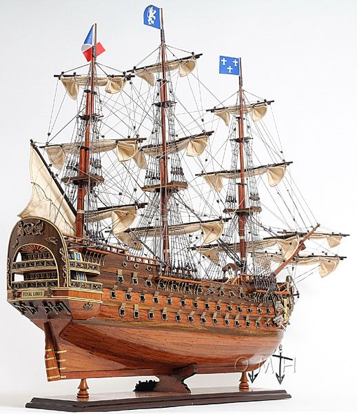 The Royal Louis, with 120 cannons and 1,200 crewmen, was the largest and most powerful tall ship of the French Navy in the late 1700s. Her captain was a Squadron Admiral. Able to shot 48-pound bronze cannonballs, the Royal Louis had unrivaled firepower. It was a huge vessel, dwarfing Dutch and English ships of similar power and intimidating all who crossed its path.