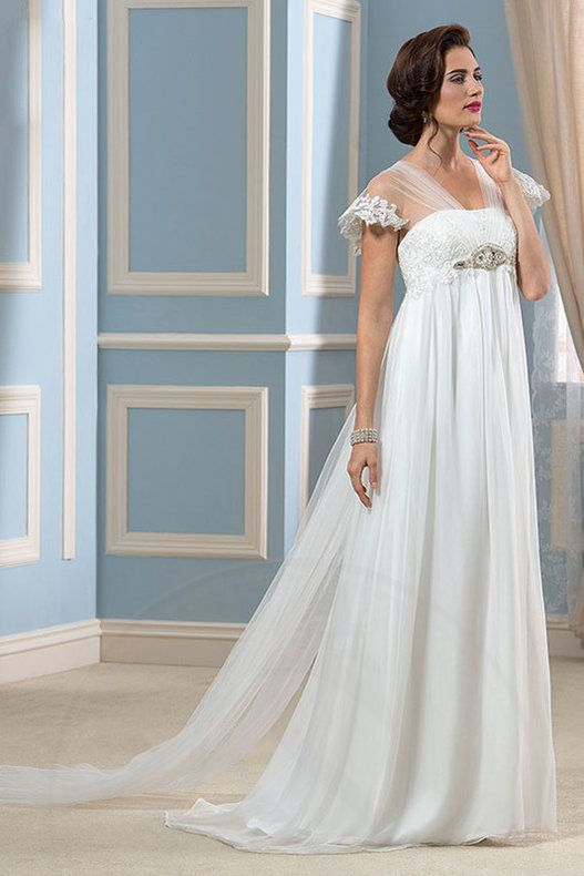 Kurze Ärmeln Spitze Tüll Brautkleid mit Porträt Ausschnitt ...