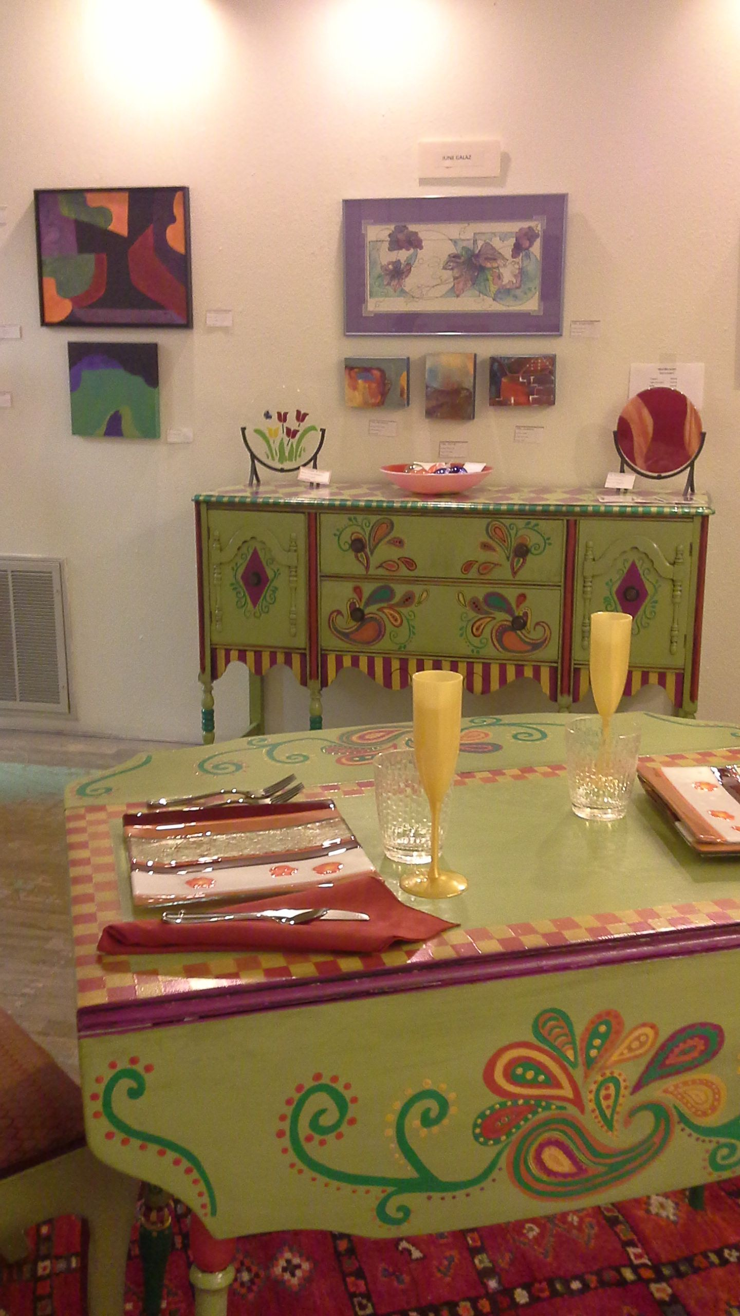 Dining Room Set Upcycled Furniture Painted Whimsical Artist  # Muebles Lady Lucky