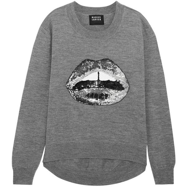 Markus Lupfer Lara Lip sequined merino wool sweater (1.220 BRL) ❤ liked on Polyvore featuring tops, sweaters, grey, sequin sweater, grey sweater, grey sequin top, merino boyfriend sweater and sequin top