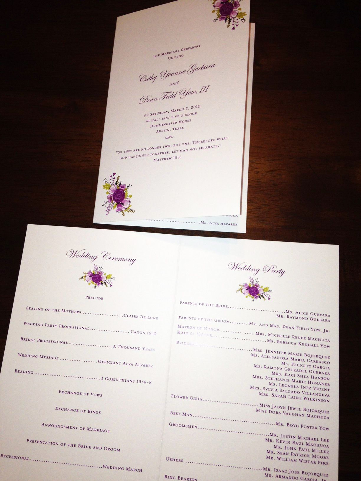 marriage invitation sms on mobile%0A Foldover program with custom floral illustration by The Inviting Pear