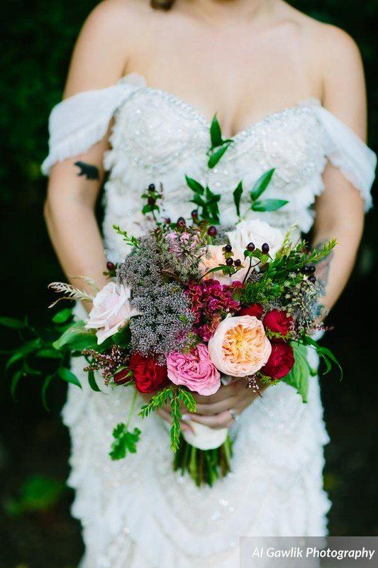 Bouquet idea for bride - peony, rose and greenery bouquet {The ...