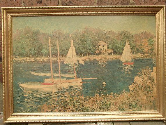 Vintage Sailboats Claude Monet Sailboat Art Framed Prints