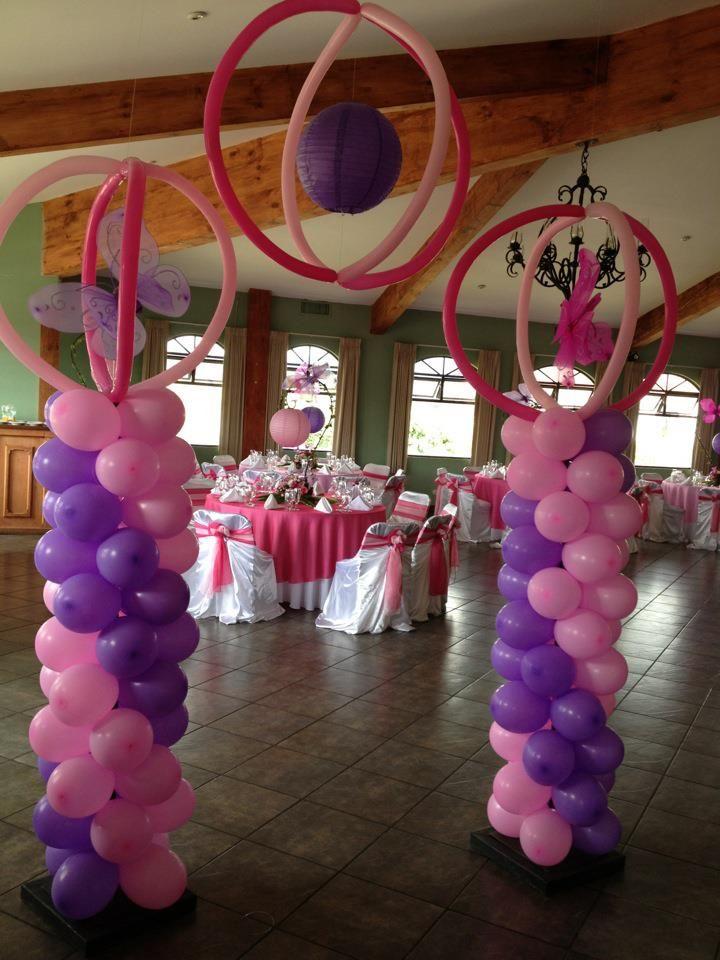 15 a os rosa y morado con mariposas fiestas de quince for Decoracion de globos para 15 anos