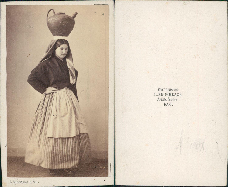 Subercaze Pau Costume Rgional Vintage CDV Albumen Carte De Visite Tir