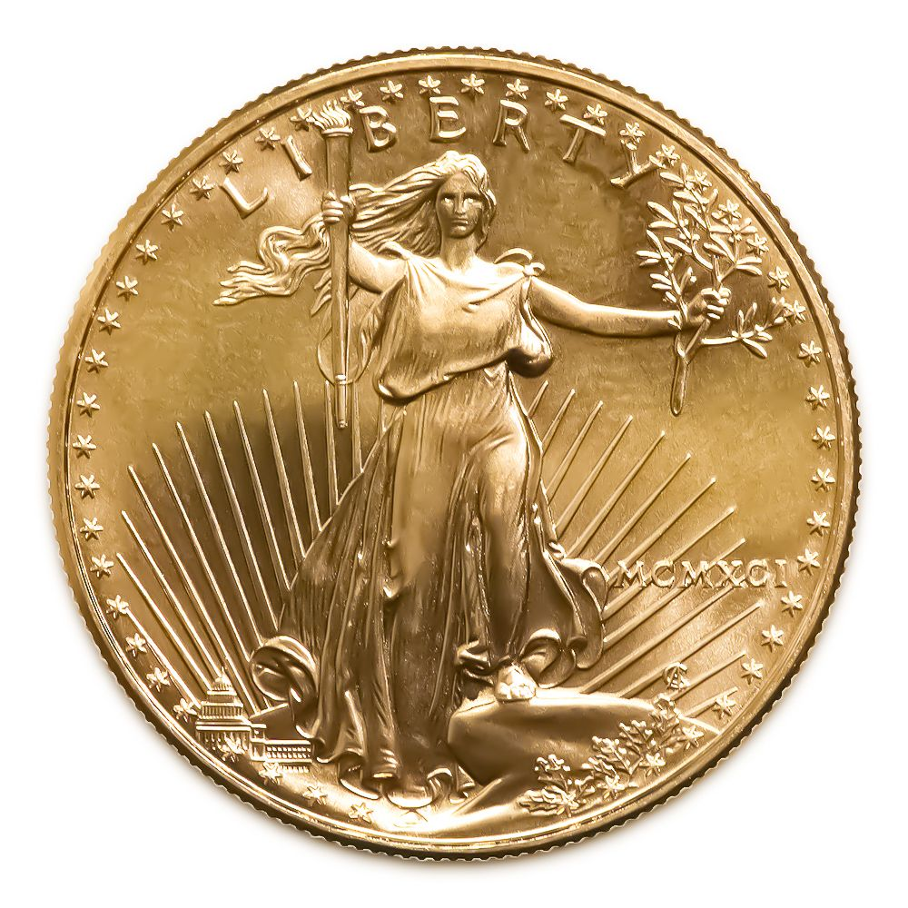 1991 American Gold Eagle 1 10 Oz Uncirculated 1 10 One Tenth Ounce American Gold Eagles Represent The Us E Gold Coins Gold Eagle Coins Silver Bullion Coins