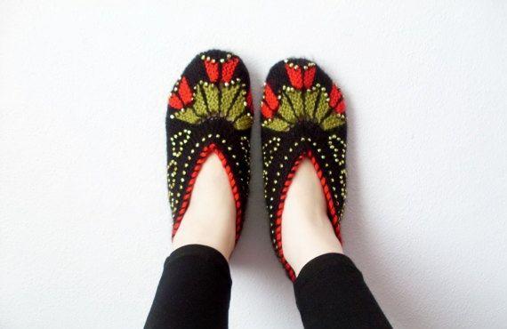 Frau Hausschuhe Schwarz Und Rot Hand Stricken Türkische Pantoffeln
