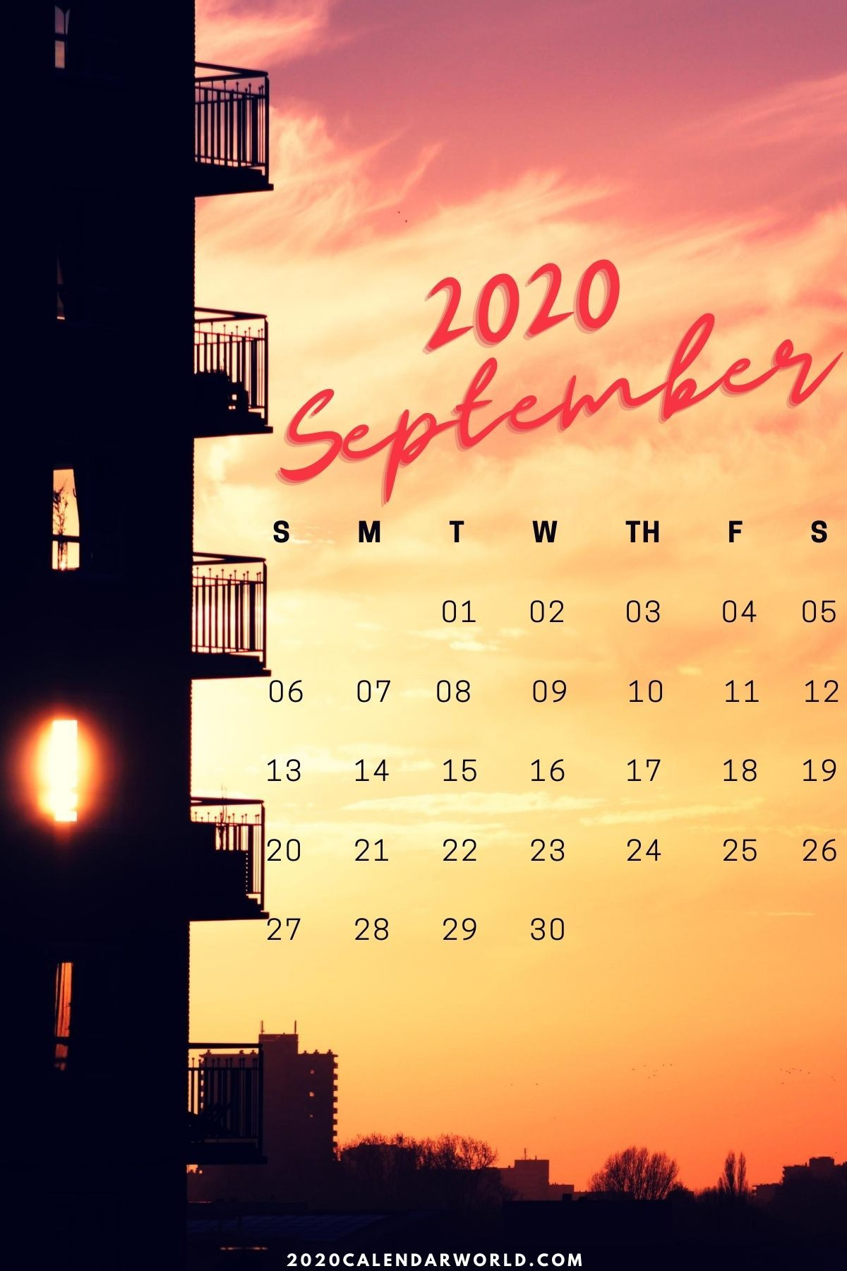 September Calendar Iphone Wallpaper