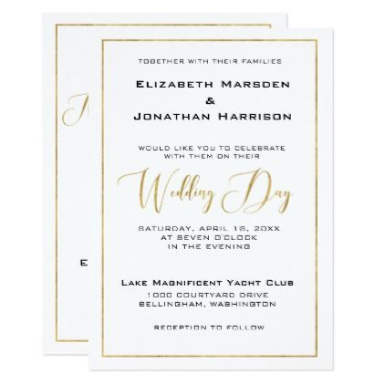 Elegant Black and Gold Script and Border Wedding Card Wedding - wedding announcement template