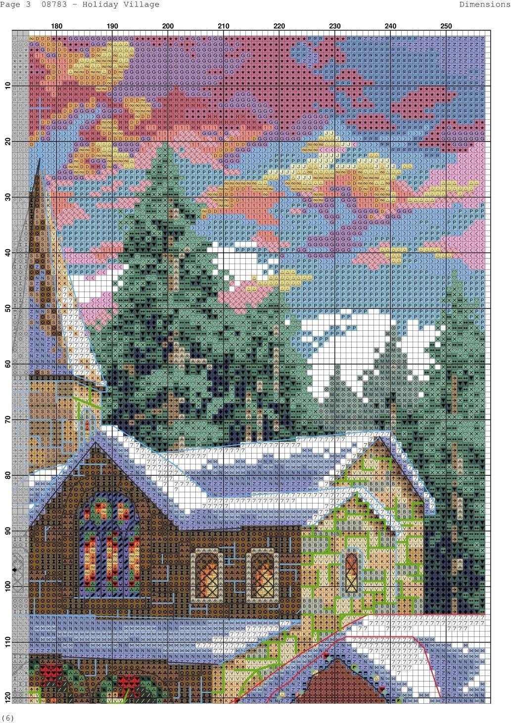 Holiday village 3 cross stitch landscape cross stitch