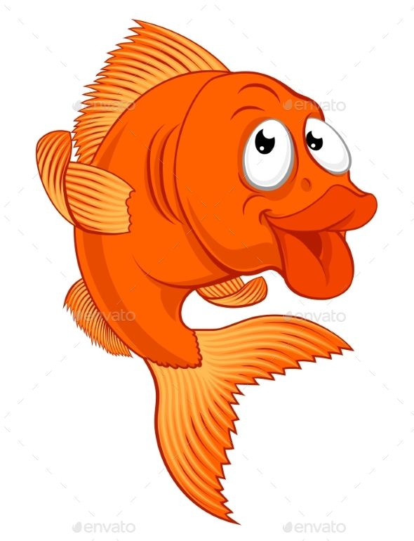 Cartoon Gold Fish Or Gold Fish Character Cartoon Goldfish Vector Character