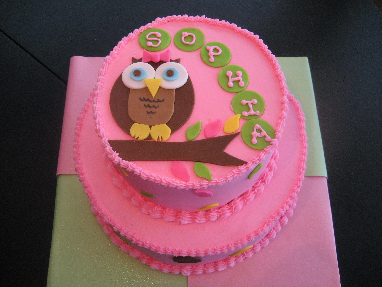 girl owl baby shower cake