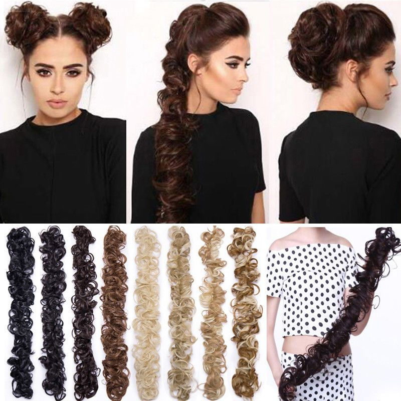 Long=Thick Hair Extensions Scrunchie Wrap Messy Bun Updo Curly Ponytail Chignon | eBay