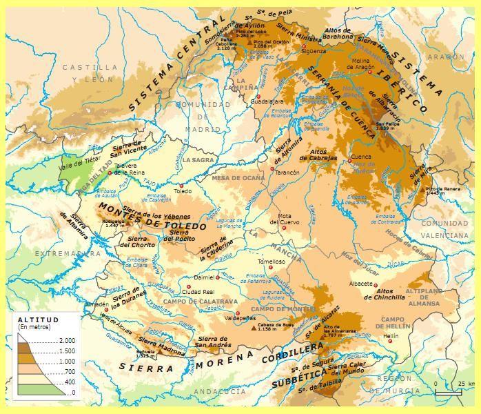 Mapa Politico De Toledo.La Submeseta Sur Esta Integrada En Castilla La Mancha Limita Al Norte Con El Sistema Iberico Al Sur Con Sierra Geografia Fisica En Castilla La Mancha Mancha