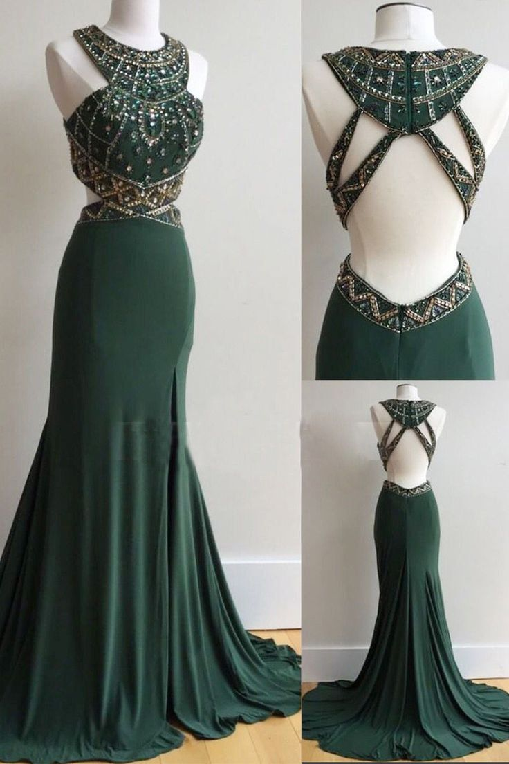 Elegant open back mermaid beaded formal dark green long prom dress