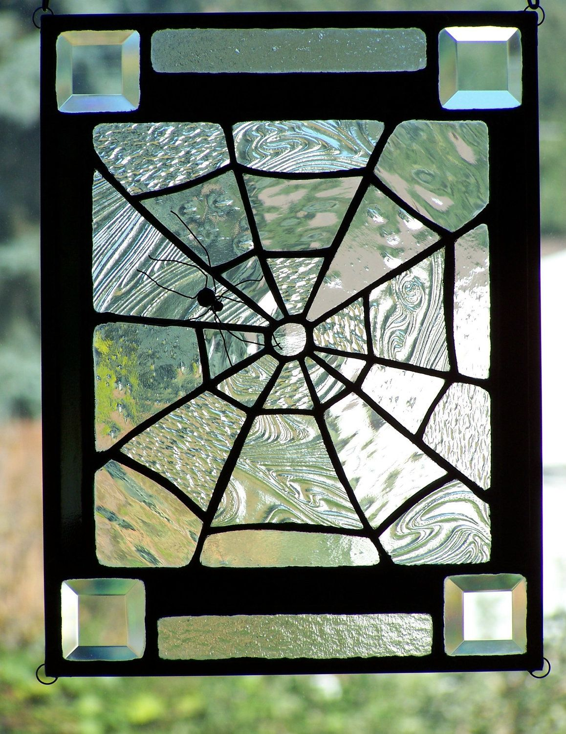 holloween stainglass | Halloween Stained Glass Spiderweb ...