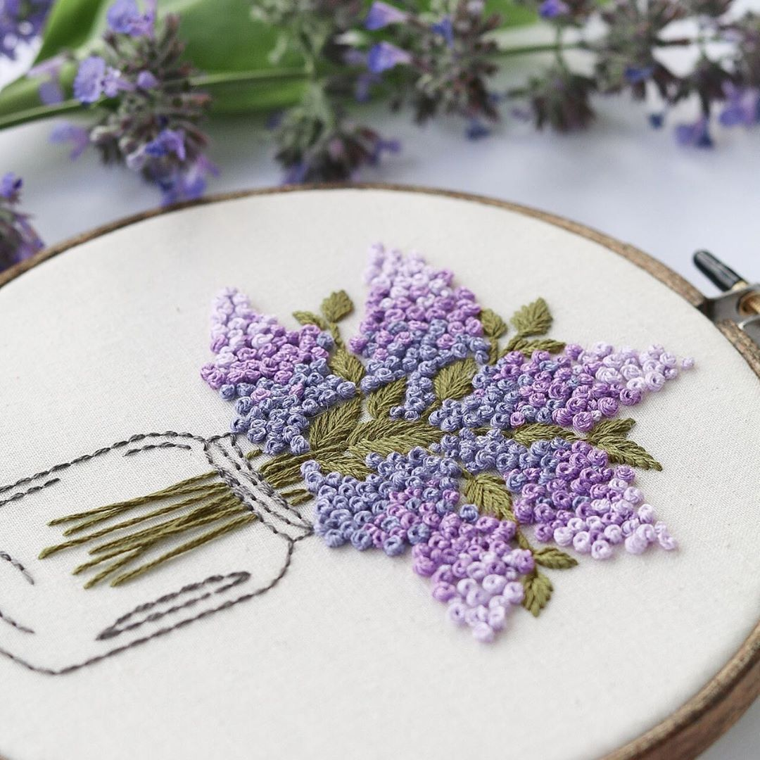 Modern Hand Embroidery Hoop Art Floral Purple Lavender Flowers Crafted With Dmc Floss Thre In 2020 Diy Embroidery Patterns Hand Embroidery Projects Embroidery Hoop Art