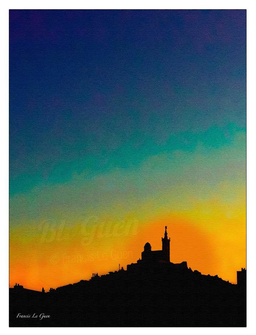"""Notre Dame de la Garde. Collection """"Phocea"""". Impression de grande qualité sur support alu Dibond, avec fixation murale. Livré chez vous par UPS en 48h.  #art #deco #sea #ocean #Marseille #photod'art #Francis Le Guen"""