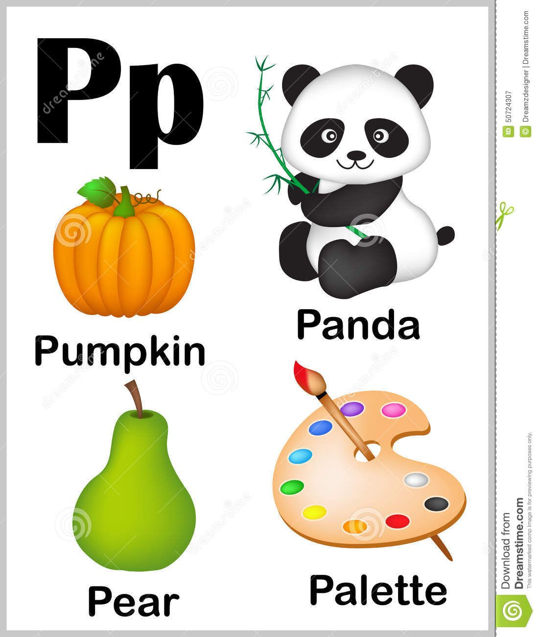 Illustration About Cute And Colorful Alphabet Letter P With Set Of Illustrations And Words