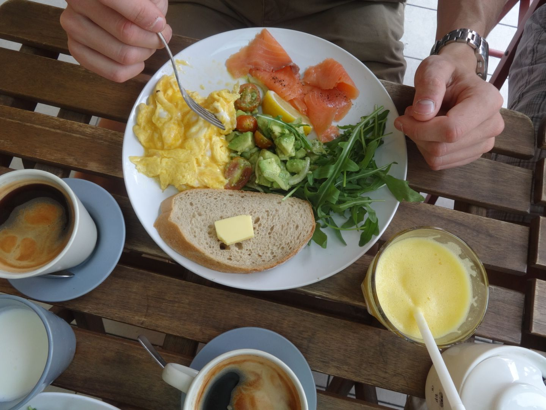 Toast, Salmon Plate, eggs.   BreadFruit cafe a western style cafe in Kuala Lumpur.