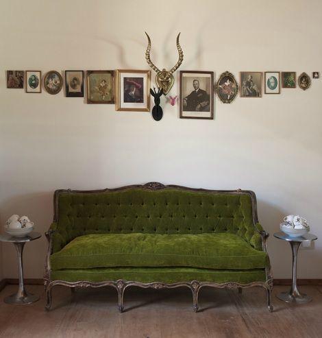Good Design Lines Green Velvet Couch Deer Picture Frames Eclectic