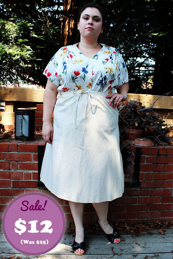 CLEARANCE  Plus Size  Vintage Cream ALine Faux Tie by TheCurvyElle, $12.00