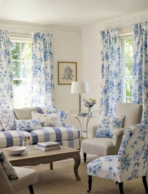 b0b9aae32f Cottage ○ Blue   white living room Cortinas Azules