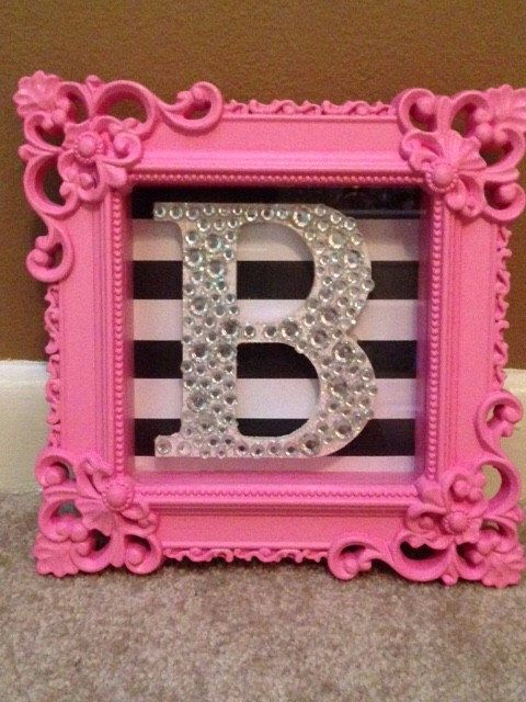 Pink Glamorous Shadow Box Initial Frame by GBTButtonsNBows on Etsy https://www.etsy.com/listing/234946205/pink-glamorous-shadow-box-initial-frame