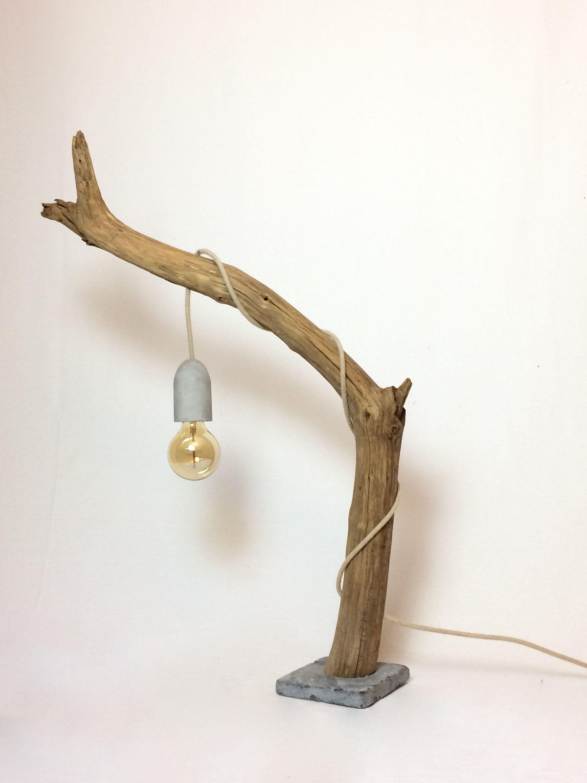 Lampe Bois Douille Beton Ampoule Vintage Edison Socle Pierre Naturelle Lampe Bois Idees Bois Flotte Deco Exterieure
