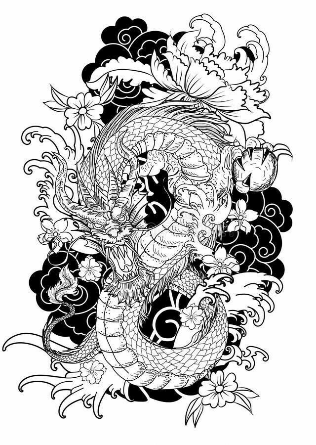 Pin By Andre Barbosa Montel On Tatto Manga Tattoo Coloring Book Dragon Tattoo Colour Japanese Tattoo Art