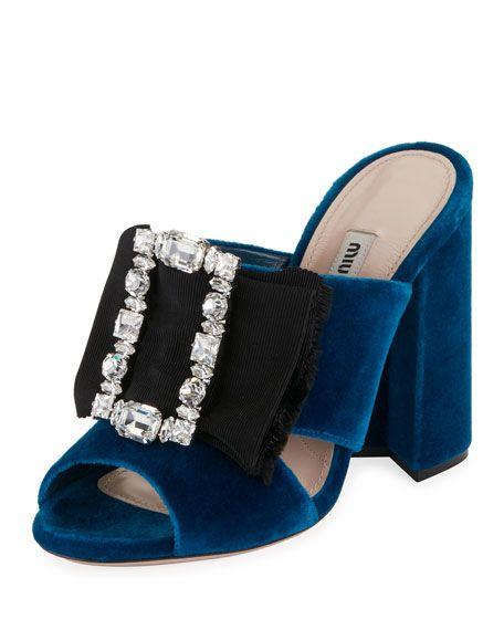 045460521783 MIU MIU Crystal-Buckle Velvet Mule Sandal