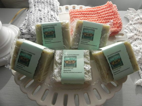 Handmade Vegan Friendly Spearmint Bar Soap by rustycupboard