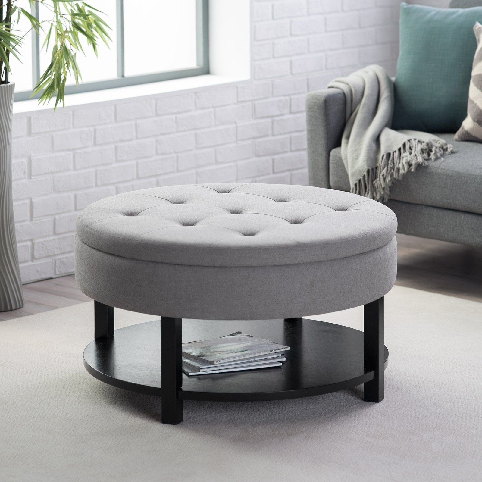 Round Upholstered Ottoman Coffee Table  Furniture Sets Living Extraordinary Living Room Table Sets Review