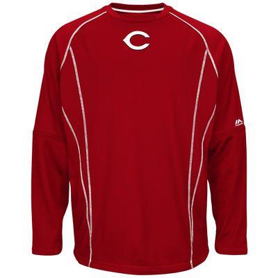 Men S Cincinnati Reds Majestic Red On Field Practice Pullover Sweatshirt Mlb Com Shop Sweatshirts Pullover Sweatshirt Pullover Jacket