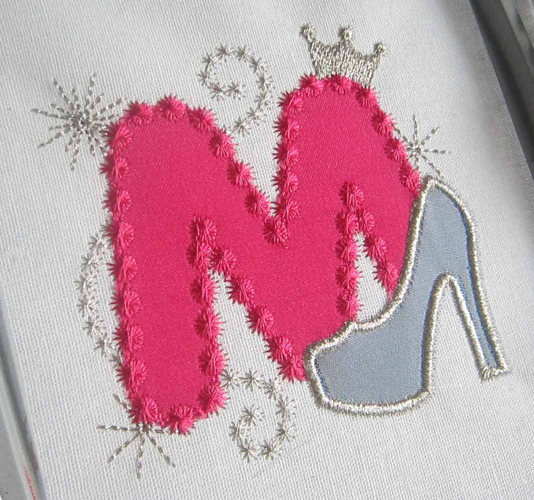 Pink Silver Letter M High Heel Shoe for Cute by EmbroideryLand
