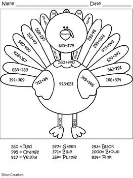 This Adorable Turkey Coloring Sheet Will Get Your Students Excited About Adding And Subtracting Within 1000 3 Turkey Math Math Coloring Adding And Subtracting