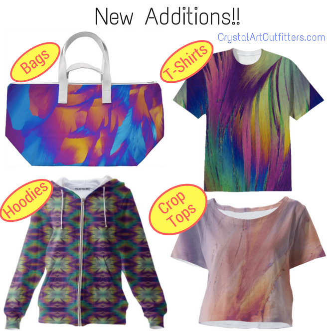 New Additions! Crop Tops + Bags + T-Shirt + Hoodies in many different prints!