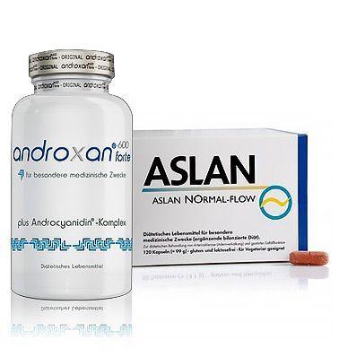 Androxan600 forte und ASLAN Normal-Flow.Androxan600 forte und ASLAN Normal-Flow Potenzkombi helfen bei moderater erektiler Dysfunktion mit L-Arginin und Androcyanidin.  Androxan600 forte ist ein hochwertiges Lebensmittel für besondere medizinische Zwecke und dient zur diätetischen Behandlung von moderater erektiler Dysfunktion.