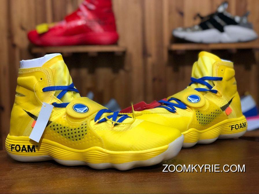 "3dca1829ae5d6 Off-White X Nike Air Hyperdunk 2017 Flyknit Custom ""Warriors"" Royal Blue-Golden  Yellow AJ4578 700 Mens Basketball Shoes New Release"