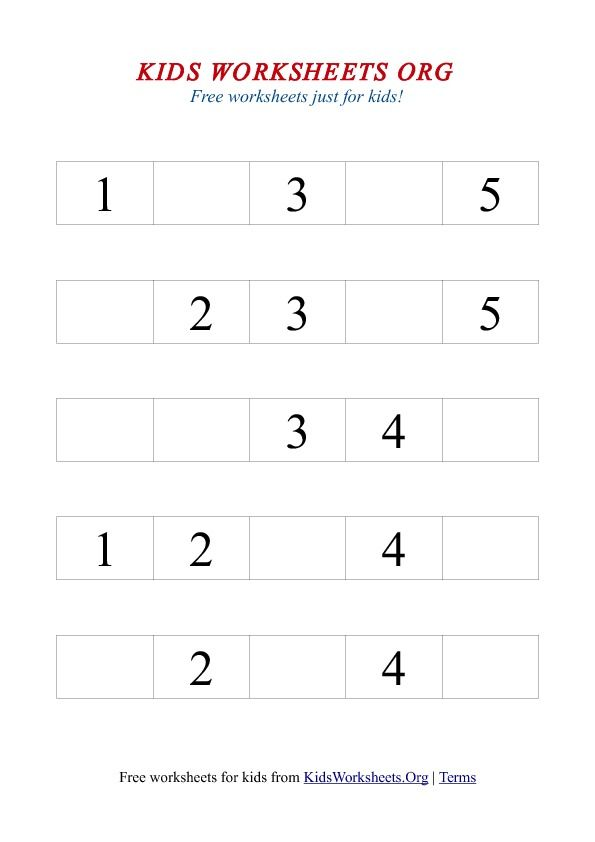 1 5 Missing Number Worksheet Kids Worksheets Org Number Worksheets Kindergarten Kindergarten Worksheets Printable Missing Number Worksheets