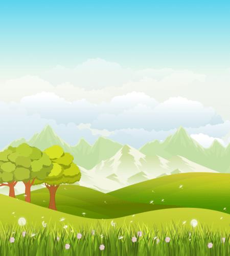 تصميم مروج خضراء بديعة وجميلة مع جبال واشجار Sunset Landscape Landscape Background Summer Landscape