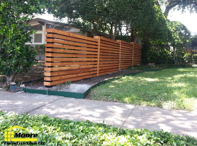 Horizontal Cedar Slatted Fence Dallas 3 Png 4x4 Black Steel Posts