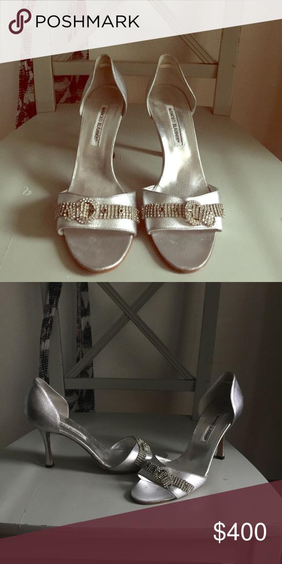 """Brand new never worn Manolo Blahniks!!! Silver w beautiful diamond Manolos size 39(9.5) 4"""" heel Manolo Blahnik Shoes Heels"""