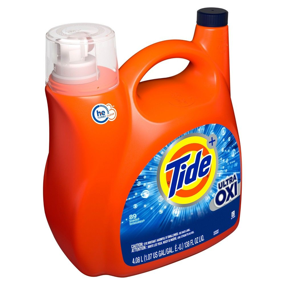 Tide Ultra Oxi Liquid Laundry Detergent Provides 10x Cleaning