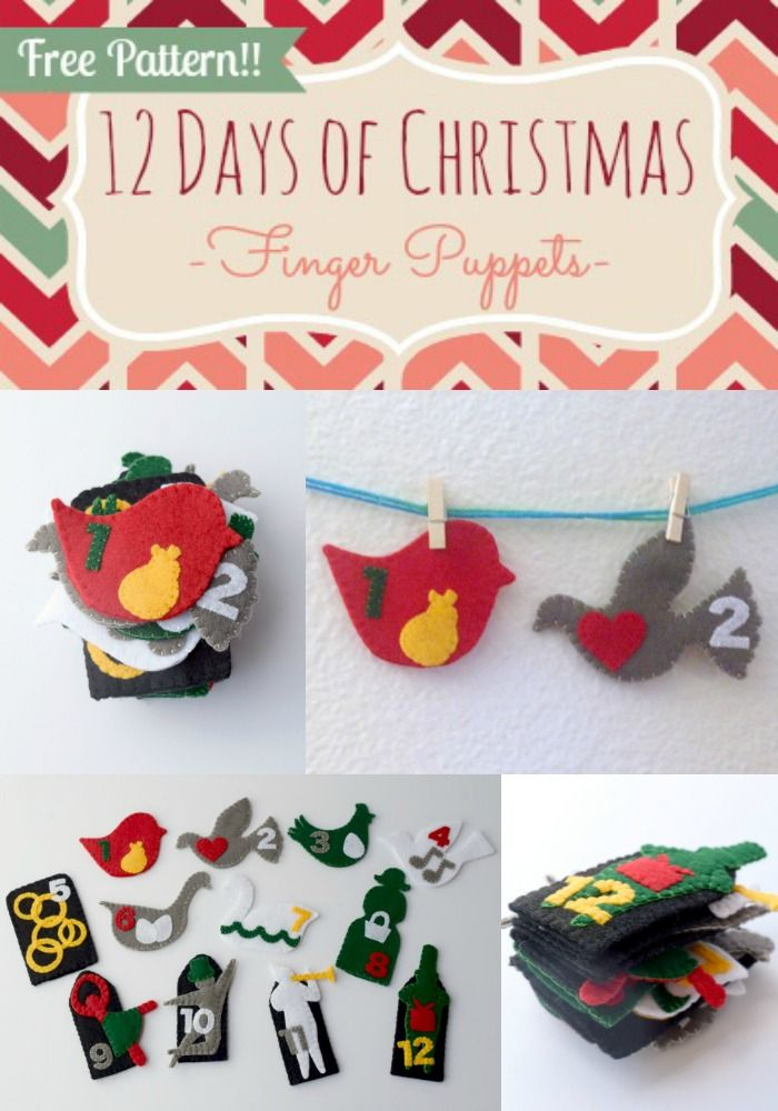 12 Days Of Christmas Finger Puppets Day 11 And 12 Tutorial Free Pattern With Images Felt Christmas Ornaments Christmas Sewing Diy Christmas Ornaments