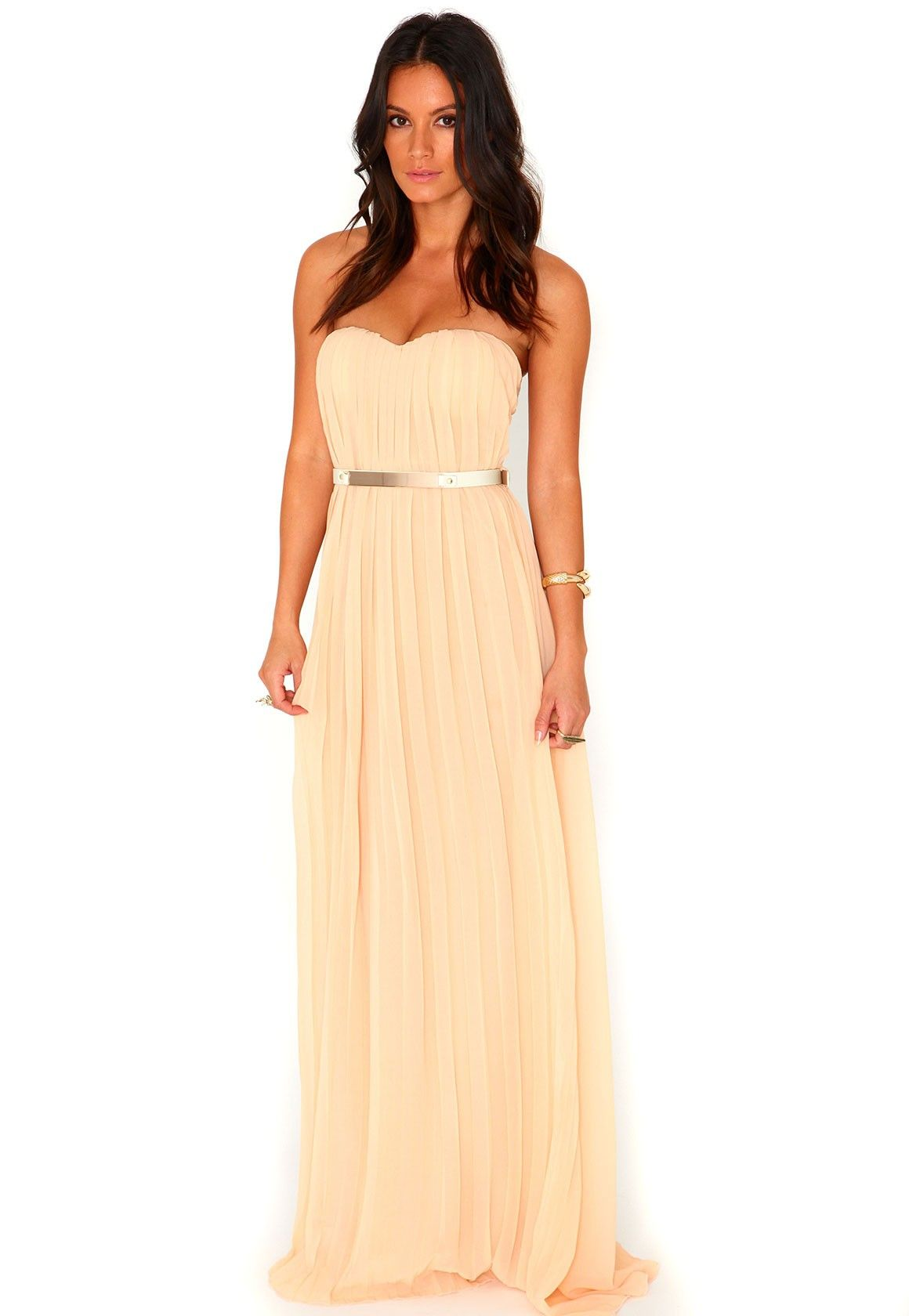 Abelone bandeau pleated maxi dress in black