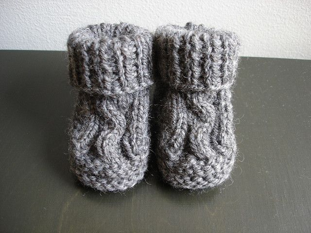 These Gorgeous Knit Cabled Baby Booties Are Knitted In The Flat
