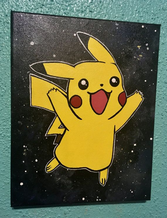 Galaxy Pikachu Painting By Confetticreationco On Etsy Mini Canvas Art Canvas Art Painting Pokemon Painting